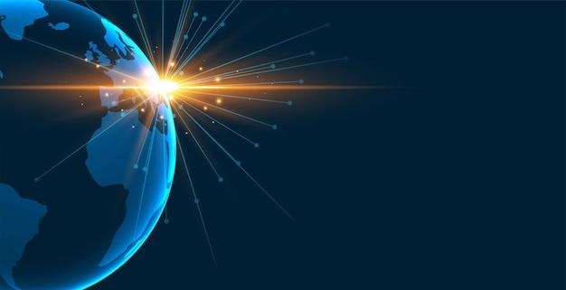 빛 빛이 함께 디지털 지구 배경