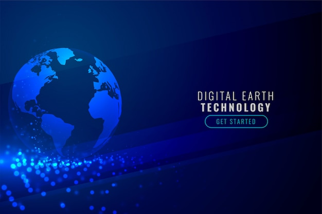 Digital earth with technology particle background