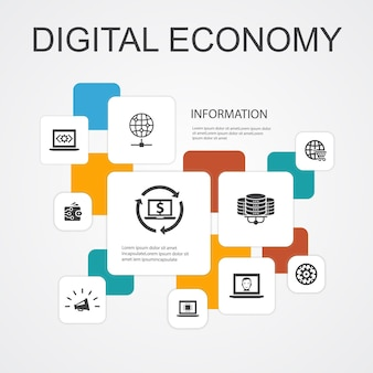 デジタル経済インフォグラフィック10行アイコンtemplate.computingテクノロジー、e-ビジネス、e-コマース、データセンターのシンプルなアイコン