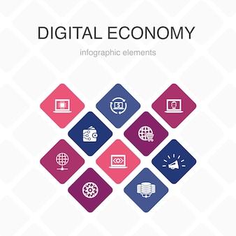 デジタルエコノミーインフォグラフィック10オプションカラーデザイン。コンピューティングテクノロジー、e-ビジネス、e-コマース、データセンターのシンプルなアイコン