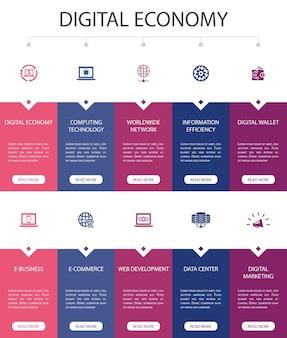 デジタルエコノミーインフォグラフィック10オプションuiデザイン。コンピューティングテクノロジー、e-ビジネス、e-コマース、データセンターのシンプルなアイコン