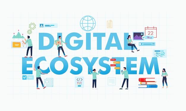 Письмо цифровой экосистемы и люди делают свою работу иллюстрации