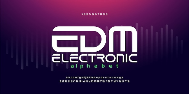 Digital edm electronic dance music alphabet fonts