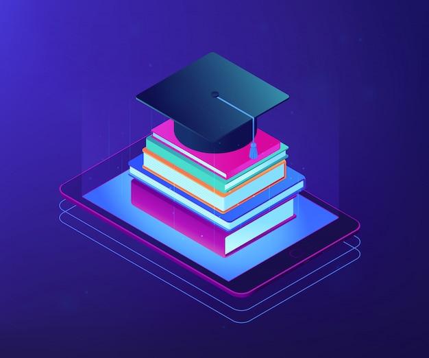 Digital education isometric 3d concept illustration.