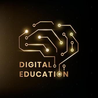 Ai脳グラフィックとデジタル教育ロゴテンプレートベクトル