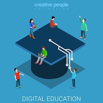 Плоская изометрическая концепция знания университета цифрового образования
