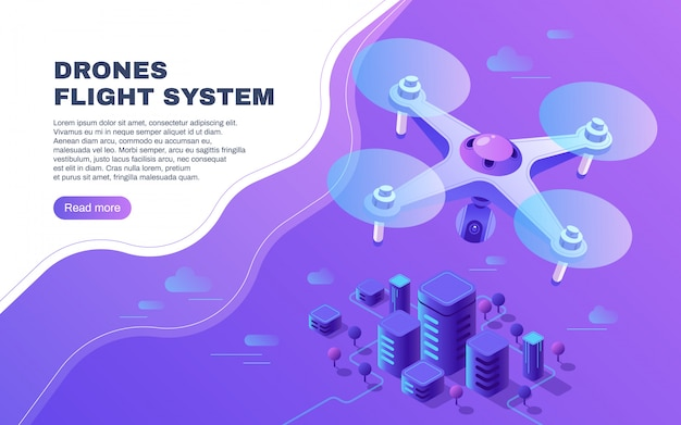 Digital entertainment flight drone, aerial photo surveillance and delivery copter flying above city vector illustration