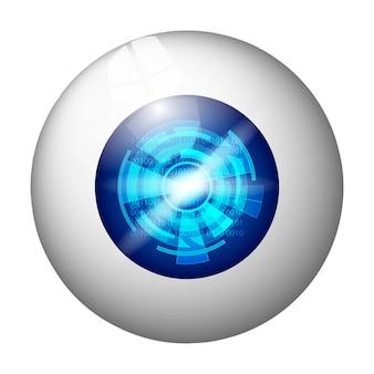 디지털 눈 흰색 절연입니다. 파란색 눈동자에 원이 있는 숫자입니다. 벡터 일러스트 레이 션.