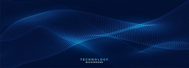 Digital flowing particles technology blue banner