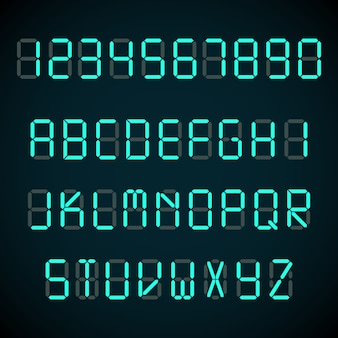 Digital font, alarm clock letters and numbers alphabet