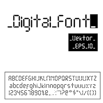 Digital font. alarm clock letters. numbers and letters set for a digital watch and other electronic devices.