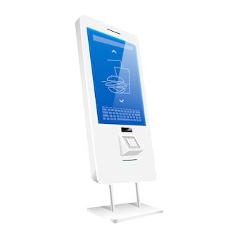 Цифровой счетчик еды с реалистичным сенсорным дисплеем. интерактивный торговый киоск плоский цветной объект. строительство самостоятельного заказа онлайн, изолированные на белом фоне. отдельностоящая доска.