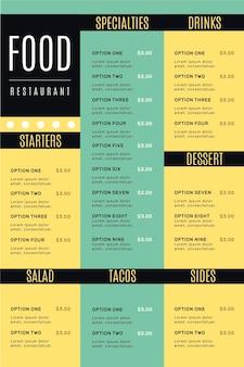 Digital food restaurant menu