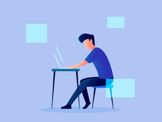 Digital futuristic analytics hologram working character vector design illustration