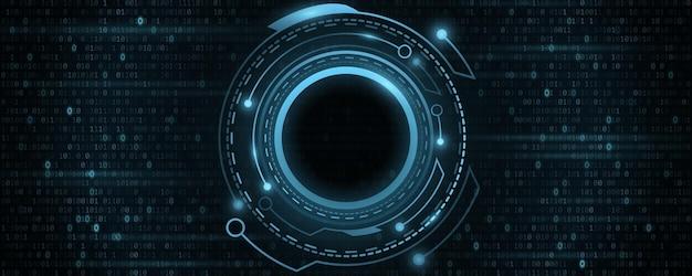 바이너리 코드가 있는 디지털 미래형 hud gui ui. 공상 과학 사용자 인터페이스. 가상 현대 그래픽. 기술 배경입니다. 대시보드 표시. 벡터 일러스트 레이 션