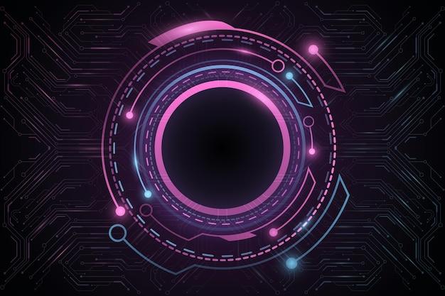 컴퓨터 회로 기판 또는 마더보드가 있는 디지털 미래형 hud gui ui. 벡터 공상 과학 사용자 인터페이스입니다. 가상 그래픽. 기술 배경입니다. 대시보드 표시