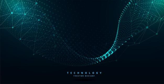 Цифровая футуристическая технология частиц волнового дизайна