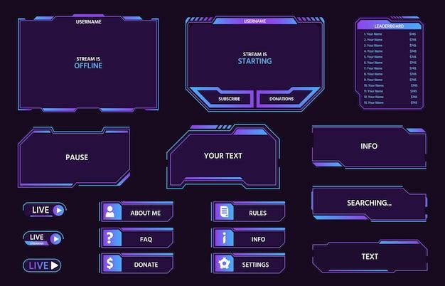 디지털 미래형 ui 패널 및 버튼, 게임 라이브 스트림. 비디오 스트리밍을 위한 네온 hud 프레임, 리더보드, 메뉴 및 막대는 벡터 세트를 보여줍니다. 하이테크 인터페이스 또는 디스플레이 절연 요소