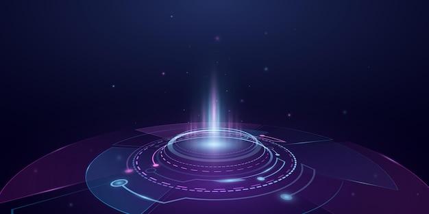 光効果のあるデジタル未来ポータルホログラム。 hudguiui。サイエンスフィクションの仮想グラフィック。ベクトル技術の背景。ダッシュボード表示