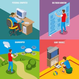 Изометрическая концепция эволюции цифровых гаджетов с персональным компьютером, сенсорным монитором, дроном и игровой консолью, изолированных векторная иллюстрация