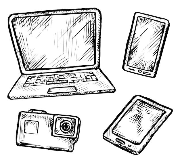 디지털 가제트 스케치. 스마트 폰, 노트북 컴퓨터, 휴대용 태블릿 전자 장치 및 사진 카메라. 현대 디지털 가제트 스케치 손으로 그린 낙서 그림. 흰색으로 설정