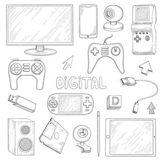 디지털 기기. 컴퓨터 pc 노트북 노트북 스마트 폰 이어폰 헤드셋 전자 기술 벡터 낙서 손으로 그린 컬렉션