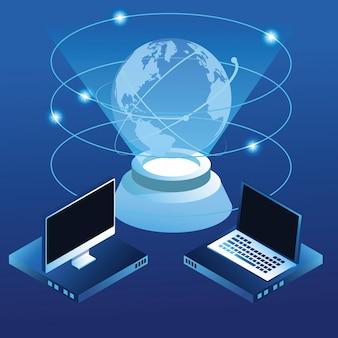 Digital global technology blue concept