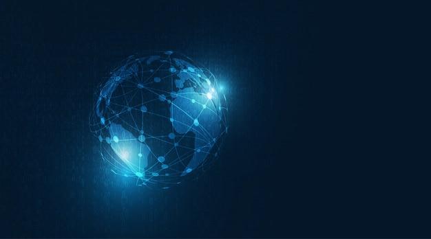 디지털 글로벌 기술 개념입니다. 진한 파란색 배경에 세계 cmap와 글로벌 네트워크 연결.