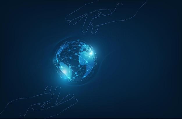 디지털 글로벌 기술 개념. 프리미엄 벡터