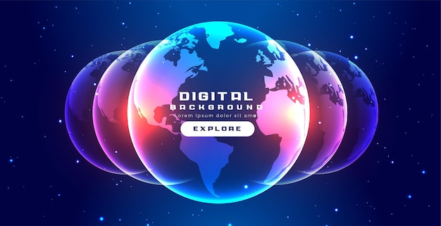 デジタル光る地球のコンセプトバナーデザイン