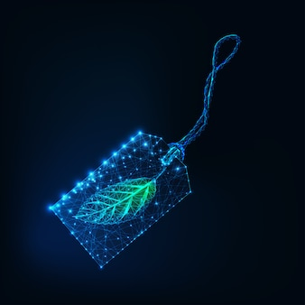 Digital glowing wireframe price tag with green leaf isolated on dark blue background.