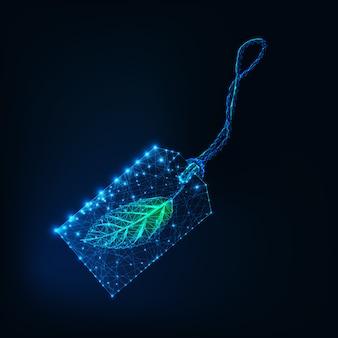 暗い青色の背景に分離された緑の葉とデジタル輝くワイヤフレーム値札。