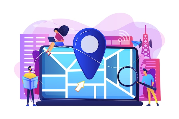 스마트 폰용 디지털 gps 애플리케이션. 도시지도에 위치 정보 표시. 지역 검색 최적화, 검색 엔진 타겟팅, 지역 seo 전략 개념.