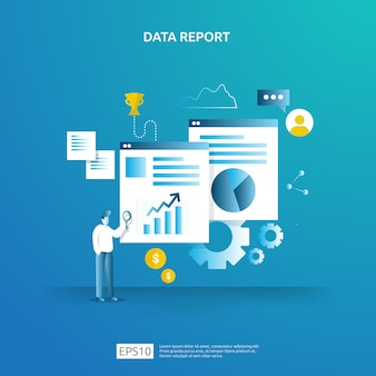 Digital graph data for seo analytics and strategic with character. statistics information, financial audit report document, marketing research for business management concept.