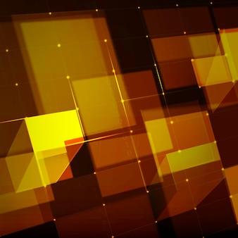 골드 톤의 디지털 그리드 기술 배경