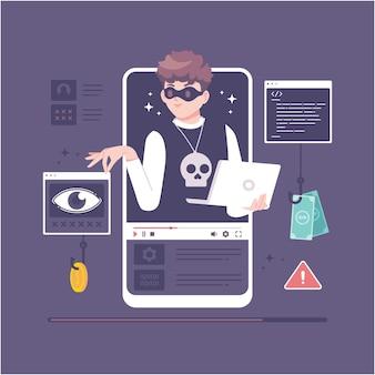 해커 캐릭터 일러스트와 함께 디지털 해킹