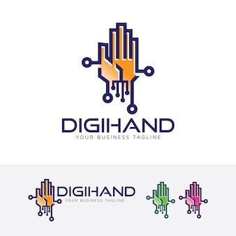 Digital hand logo template