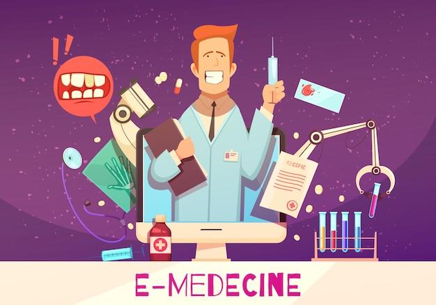 Digital health composition with online doctor  medical equipment  blood test drugs illustration