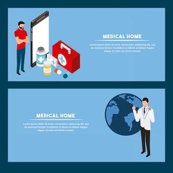 Шаблон баннера цифровой концепции здоровья
