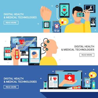 디지털 건강 플랫 배너 세트