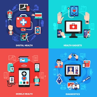 Digital health gadgets composition set