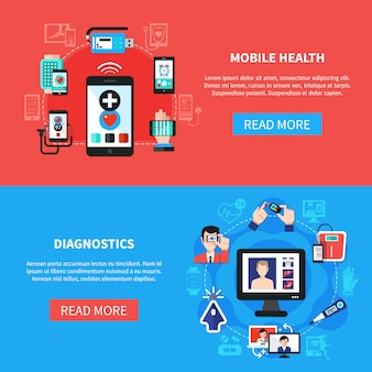 Digital health gadgets flat banners