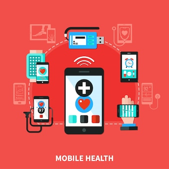 Digital health gadgets flat poster