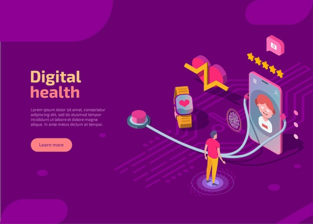 Digital health isometric landing page.