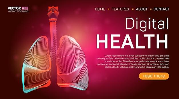 Шаблон целевой страницы цифрового здоровья или концепция дизайна баннера медицинского героя. человеческие легкие очерчивают орган в стиле 3d линии на абстрактном фоне
