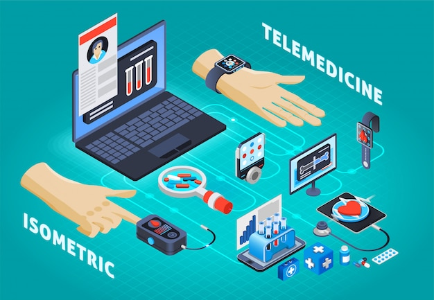 Digital health telemedicine isometric composition
