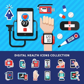 Digital healthcare  icons collection