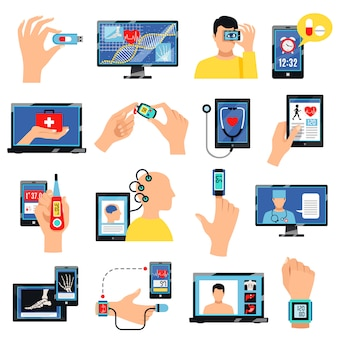 Digital healthcare technology elements and characters set