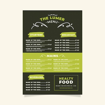 Digital healthy food restaurant menu
