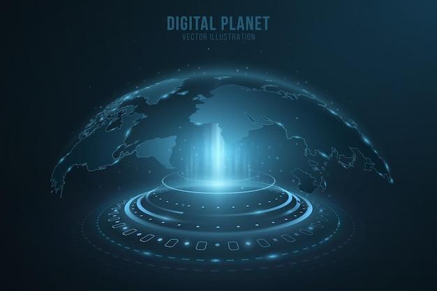 Hud要素を使用したデジタルホログラフィックドット世界地図。地球儀ホログラム。光の効果を持つサイバースペースの未来の惑星地球。ベクトルイラスト。 eps 10